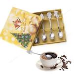4Pcs/set/1Pc Box - Stainless Steel Christmas Tableware Coffee Spoons