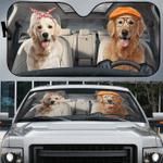 3D Golden Retrievers Family Dog Custom Car Auto Sunshade 57 X 27.5
