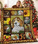 Beagle Sunflower Quilt Blanket