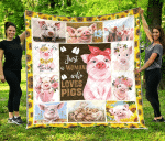 Beautiful Just A Woman Who Loves Pigs Quilt Blanket
