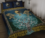 Viking Tree Of Life Fenrir Skoll And Hati Raven Rune Quilt Bed Set