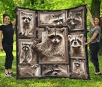 Raccoon Quilt Blanket Twin