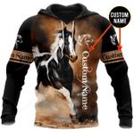 Love Horse Custom Name 3D All Over Printed Hoodie
