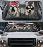 Funny Husky Couple Car Sunshade 57 X 27.5