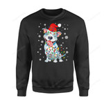 Dog Christmas Gift Idea Pitbull Santa Lights T-Shirt - Standard Fleece Sweatshirt S / Black