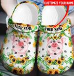 Pig Sunflower Customize Clog Shoes