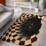 Black Cat Hole 3D Rug
