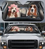 Basset Hound Couple Car Sunshade 57 X 27.5