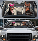 Doberman Couple Car Sunshade 57 X 27.5
