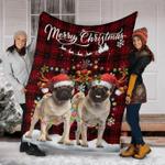 Pug Christmas Fleece Blanket