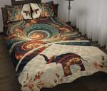 Elephant Fractal Brown Quilt Bed Set