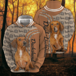 Dachshund Woof All Over Printed Hoodie