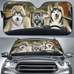 Alaska Malamute Family Car Sunshade 57 X 27.5