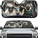 Pug Gang Selfie Car Sunshade 57 X 27.5