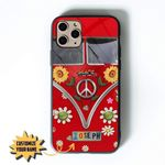 3D Custom Name Glass Phone Case Cover Hippie Sunflower Peace Van Iphone / X Collection