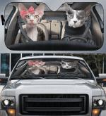 Sphynx Cat Couple Car Sunshade 57 X 27.5