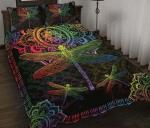 Beautiful Mandala Dragonfly Quilt Bed Set