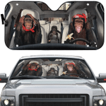 Chimpanzee Family Car Sunshade 57 X 27.5