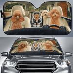 Poodle Family Car Sunshade 57 X 27.5