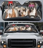 Boxer Dog Family Car Sunshade 57 X 27.5