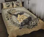 Viking Quilt Bedding Set Raven Valknut Tree Of Life Rune Circle Twin