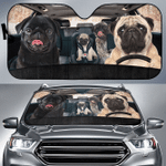 Pug Dog Family Car Sunshade 57 X 27.5