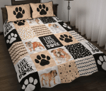Bulldog Shape Pattern Quilt Bed Set