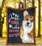 Corgi - Just A Girl - Fleece Blanket