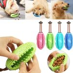 Dog Interactive Rubber Ball Puppy Chew Playing Toy Food Dispenser Pet Soft Toothbrush Bite-Resistant