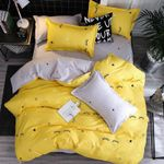 Eyelash Star Yellow 4Pcs Kid Bed Cover Set Cartoon Duvet Adult Child Sheet And Pillowcases Comforter