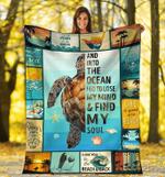 Turtle - And Into The Ocean I Go Fleece Blanket