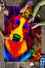 Border Collie Watercolor Jigsaw Puzzles