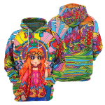 Red Hair Hippie Girl - 3D All Over Printed Hoodie