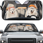 Samoyed Couple Car Sunshade 57 X 27.5