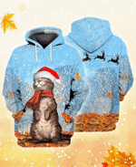 Cat Winter All Over Printed Hoodie