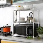 Silver Multifunctional Microwave Oven Rack Kitchen Shelves Kitchen Accessories Organizer Shelf Rack