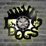 Different Dogs Shape Led Clock Vinyl Record