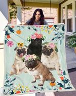 Pug Family Flower Blanket X - Large ( 80 X 60 Inches / 200 150 Cm) All Products