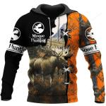 Moose Hunting All Over Printed Hoodie HPV03