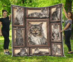 Maine Coon Cat Quilt Blanket Twin