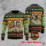 Three Cows Green Christmas Wool Sweater