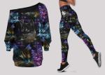 Colorful Cat Off Shoulder Shirt & Leggings Set
