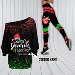 Customized Santa's Favorite Teacher Off Shoulder Shirt & Leggings Set