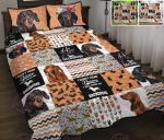Dachshund Shape Pattern Quilt Bed Set & Quilt Blanket