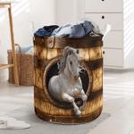White Horse Wood Pattern Laundry Basket