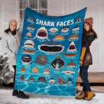 Shark Face Ocean Fleece Blanket