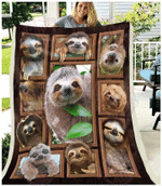 Sloth Jumping On The Trees Fleece Blanket