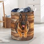 German Shepherd Wood Vintage Laundry Basket