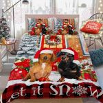 Dachshund Let's It Snow Quilt Bed Set