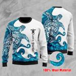 Blue Sea Turtle Christmas Sweater